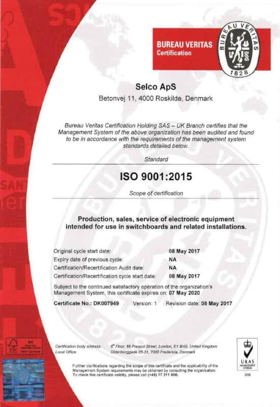 SELCO - ISO 9001 2015 UKAS UK 08-05-2017